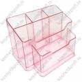 Подставка для кистей прозрачно-розовая