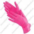 Перчатки нитриловые текстурированные на пальцах BENOVY, M, фуксия, 500/50