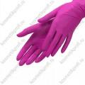 Перчатки нитриловые ярко-розовые М, (50пар) Benovy