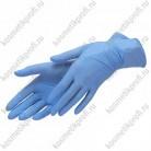 Перчатки нитриловые голубые М 3,0гр (100 пар) Benovy текстурированные на пальцах